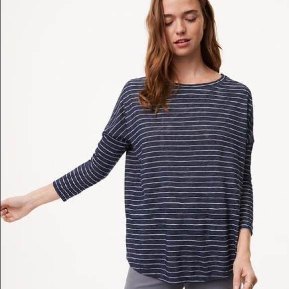 3d8e716d02d31 LOFT Tops | Sale Maternity Striped Navy Dolman Tee | Poshmark